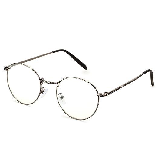 53a51651c95 Amazon.com  PenSee Optical Metal Oversized Circle Inspired Horned Rim  Eyeglasses Frames  Clothing