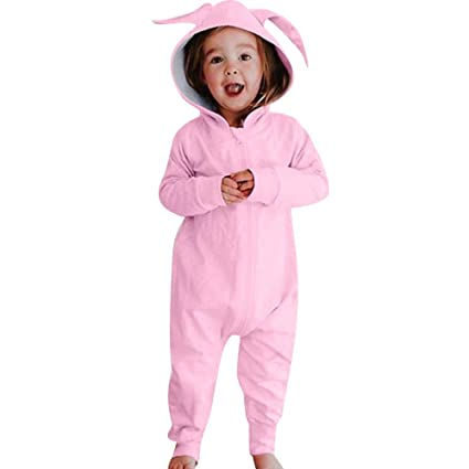 d58288c2a Image Unavailable. Image not available for. Color: Franterd Rabbit Ear  Hooded Romper for Little Girls Boys Sweet Pink Warm Long Sleeve ...