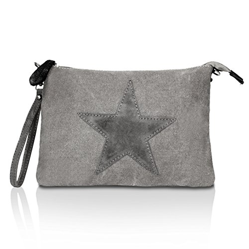 Glamexx24 Borsa da Donna Borsetta a tracolla e a spalla con stella Grigio