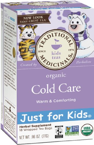 Traditional Medicinals Just for Kids Organic Cold Care Herbal Tea,18-Count Wrapped Tea Bags (Pack of 6)