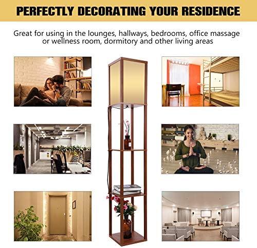 Riuty - Lámpara de pie de madera, moderna lámpara de pie para salones y dormitorios con unidades de estantería integradas UE Plug 220 V: Amazon.es: Hogar