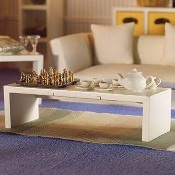 Dolls House moderno Mesa de centro blanco 1:12 para casa de ...