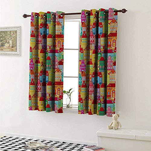 (shenglv Cityscape Cartoons Drapes for Living Room European Architecture Art Houses with Pillars Fountains Cute Urban View Curtains Kitchen Window W96 x L72 Inch Multicolor)