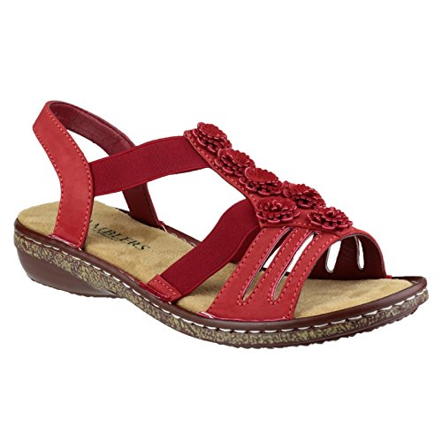 Amblers Womens/Ladies Elasticated Open Toe Floral Sandals Red z8iOX