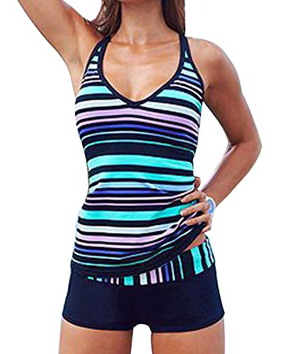 Tempt Me Women Two Pieces Plus Size Colored Stripe Athletic Tankini Swimsuits Blue 1X