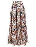 Zeagoo Women African Boho Floral Print High Waist Beach Party Bohemia Long Maxi Skirt