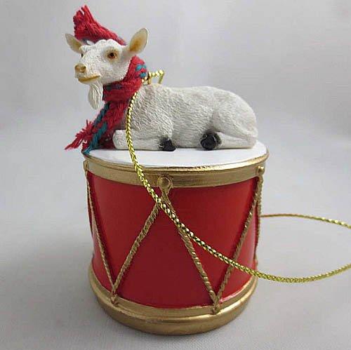 Little Drummer White Goat Christmas Ornament - Hand Painted - Delightful by Animal Den