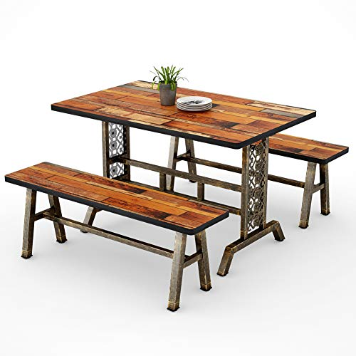 Tribesigns Dining Table with Two Benches, 3 Pieces Dining Set Kitchen Table Set with Metal Base for Small Spaces, 47.2