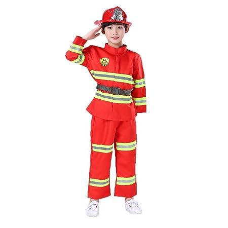 cedarfiny Juego de Disfraz de Bombero para niños, Naranja, 110 cm ...