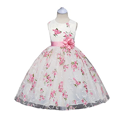 Pageant Dresses for Girls Wedding Party Pink White Ball Gowns Princess Lace Tutu Vintage Ruffles Chiffon Elegant Bowknot Sleeveless Fluffy Length Stuff Size 5 6 (007 Pink 130)