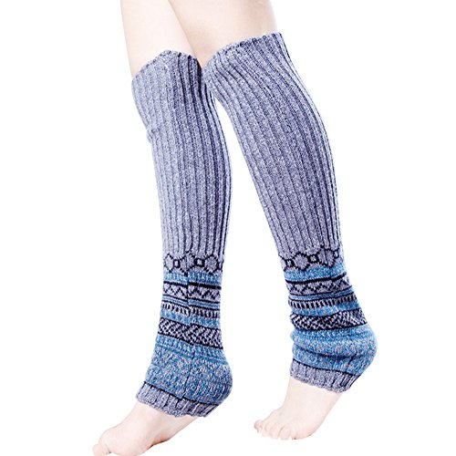 Womens Knee High Winter Knitted Crochet Long Leg Warmers Boot Socks Blue ymxBwpL