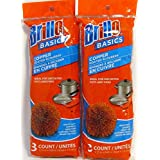 Brillo Basics Scourers Copper or Stainless Steel 6 Count (2 Pack) (Copper)