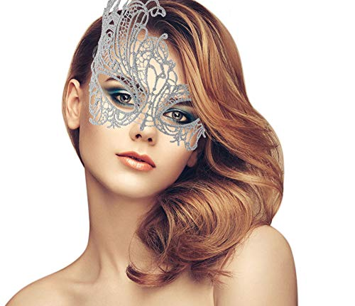 duoduodesign Exquisite Lace Masquerade Mask (Silver Grey Design for Small Faces and Small Eyes/Soft Version)