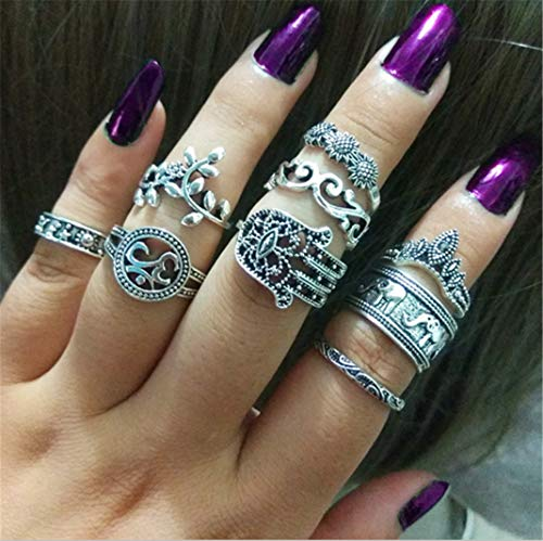 9 Pieces Ring Bohemian Vintage Openwork Joint Ring Carved Eephant Finger Rings