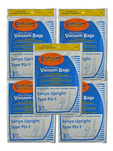 15 Sanyo Upright Pu-1 Vacuum Bags, Panasonic, Kenmore, LG Vacuum Cleaners, SC54A, SCA4, SCA41, SCA42, SCA4A, VU5545-65