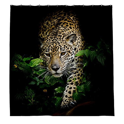 - Zixinriues Jaguar Portrait Shower Curtain Polyester Fabric Bathroom Shower Curtain Set with Hooks 72 By 72-inch,180cmx180cm