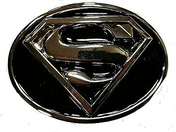 64375a5a2fec Choppershop Superman avec Finition Argent et Noir en émail en métal Boucle  de Ceinture