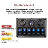 6 Gang Waterproof Rocker Switch Panel Blue LED