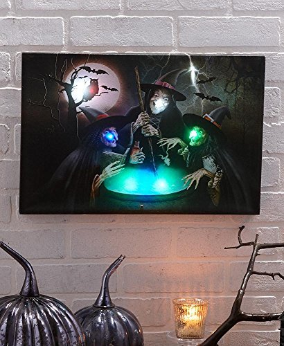 The Lakeside Collection Light and Sound Three Witches Halloween Canvas Wall Art - for $<!--$24.47-->