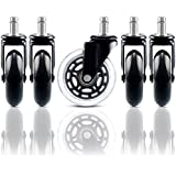 Chair Wheels Set of 5, Office Desk Chair Replacement Caster, Heavy Duty and Safe with Universal Standard Stem Diameter, Rubber Rollerblade Wheels No Scratch for Hardwood Floors and Carpet, 3in Black.