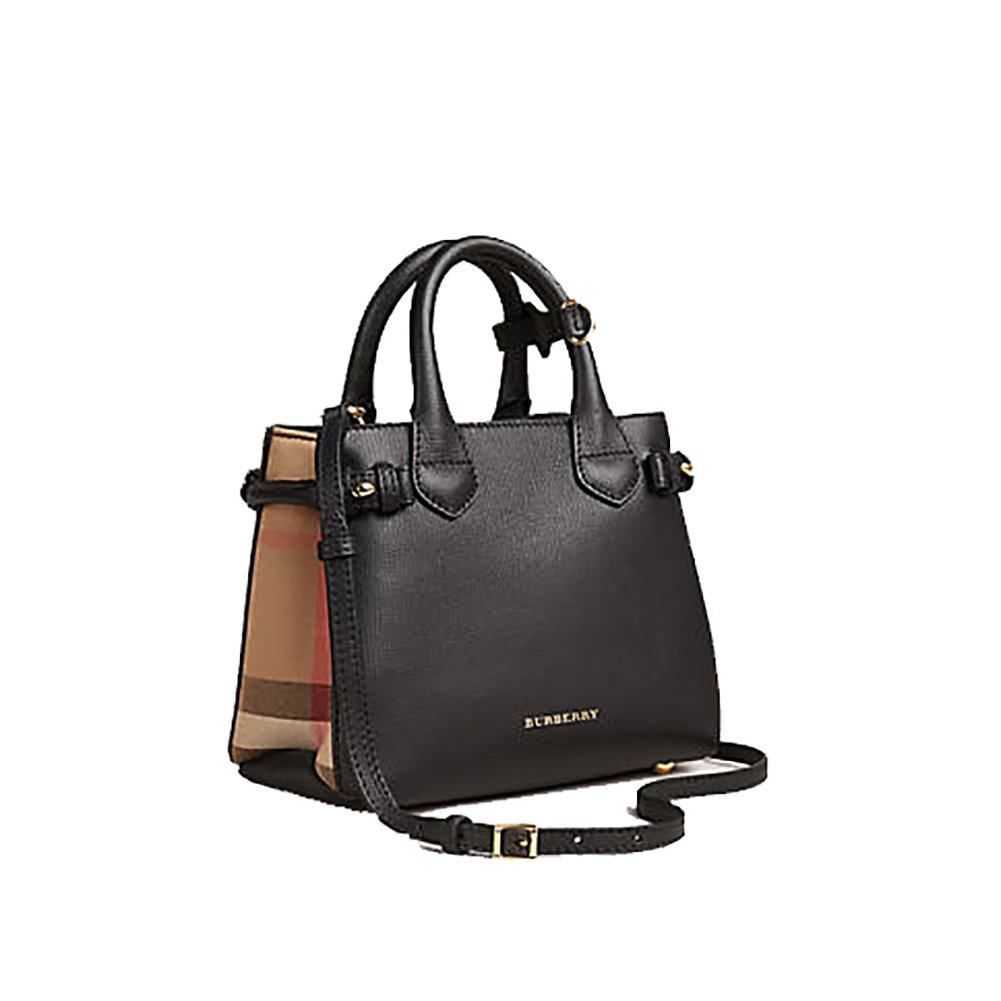 59fbb629313 Amazon.com: Tote Bag Handbag Authentic Burberry The Baby Banner in Leather  and House Check Black Item 40140711: Shoes