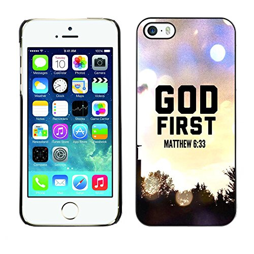 DREAMCASE Citation de Bible Coque de Protection Image Rigide Etui solide Housse T¨¦l¨¦phone Case Pour APPLE IPHONE 5 / 5S - GOD FIRST - MATTHEW 6:33