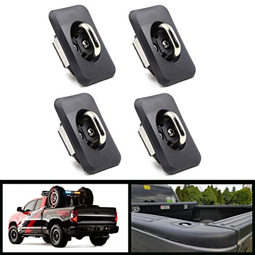 4 Pcs Retractable Truck Bed Tie Downs Pickup Anchors, Stake Pocket Hook Rings for Tundra 2000-2013 Reg & Access Cab with Different Doors and Pop Out Rail Cap Covers, Retractable 1000 Pound Capacity