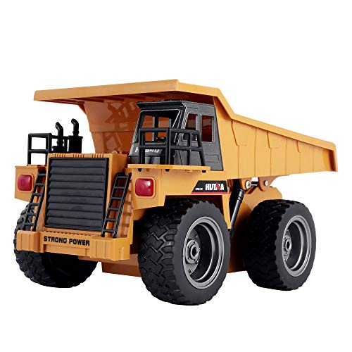 Inkach Remote Control Dump Truck, Kids City Construction Vehicle, 1:18 6WD RC Car Model Toys (Yellow)