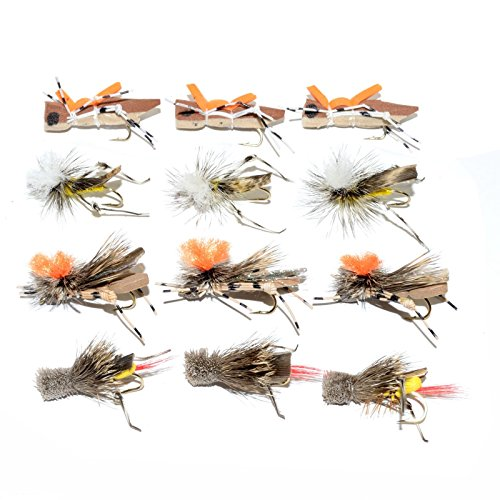 Trout Fly Assortment - Four Best Grasshopper Trout Dry Fly Fishing Flies Collection - 1 Dozen Flies - 4 Hopper Fly Patterns (Hatch Fly Fishing)