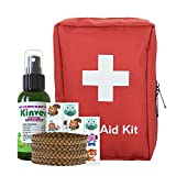 First Aid Kit and Mosquito Repellant Family Bundle - with 72 Piece Emergency Kit, Kinven 2oz Spray, 4 Bracelets, 2 Anti-Mosquito Patch Sets, Mosquito Net Not Needed
