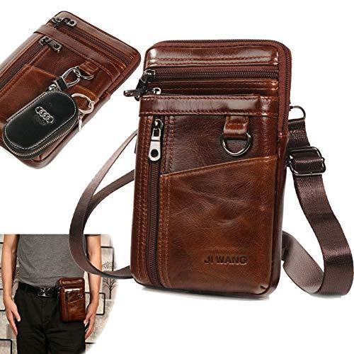 Aonet Men Waist Belt Pack Leather Crossbody Shoulder Bag Travel Purse Messenger Pouch Cell Phone Holsters Case - Brown
