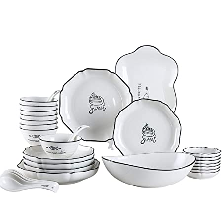 FDPVJSS Juego de Cena Combi-Set, tazones de Porcelana, Plato ...