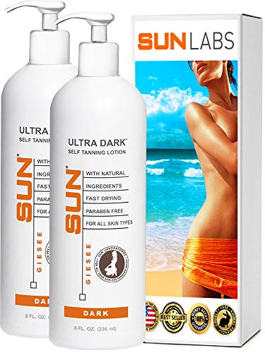 Sun Laboratories Ultra Dark Self Tanning Lotion – Set of 2-8 fl oz Sunless Tanning Lotion – Light to Medium tones Sunless Bronzer Sunless Tan Cream Packaging May Very