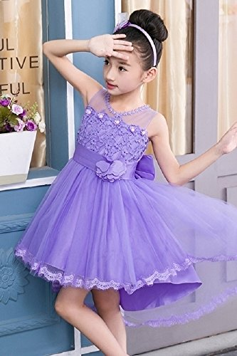 Kids Girls Princess Dress 2018 Summer Innovation Unique Dress Child Children Girl Dress Flower Girl Tutu (White Headband +