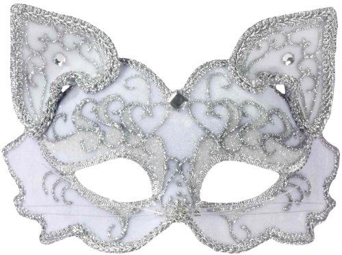 - Forum Fancy Cat Style Venetian 1/2 Mask, White/Silver, One Size