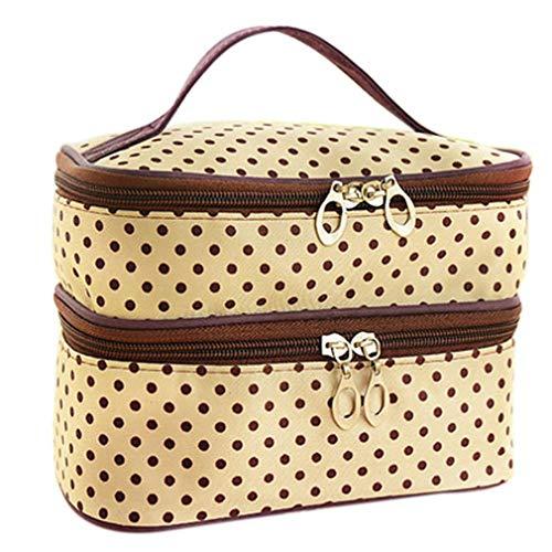 (Suitcase For Toilet Beauty Vanity Travel Toiletry Kit Cosmetic Makeup Bag Case Handbag Organizer Women Pouch Beige 20.5 X 14 X 12.5 cm)
