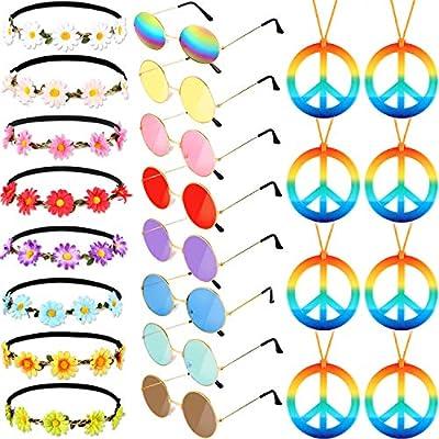 El Juego de Disfraz de Hippie de 24 Piezas Incluye Gafas Redondas de Hippie Collar de Signo de la Paz con Arco Iris Girasol Diademas para Fiesta de Festival: Amazon.es: Juguetes y