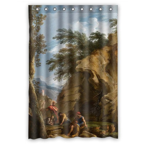 Monadicase Polyester Beautiful Scenery Landscape Art Painting Bathroom Curtains Width X Height / 48 X 72 Inches / W H 120 By 180 Cm Gift Or Decor For Mother,her,girls,custom,hotel. Water Repellent