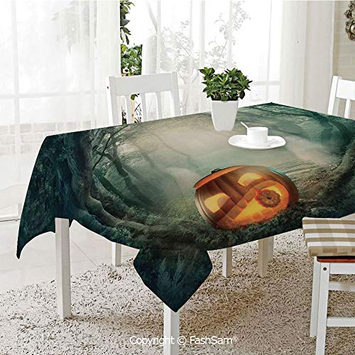 Premium Waterproof Table Cover Scary Halloween Pumpkin Enchanted Forest Mystic Twilight Party Art Table Protectors for Family Dinners (W55 xL72) -