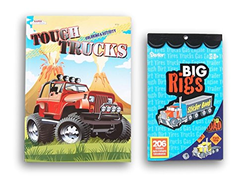 Big Trucks Activity Bundle - Coloring Book and Sticker Book -