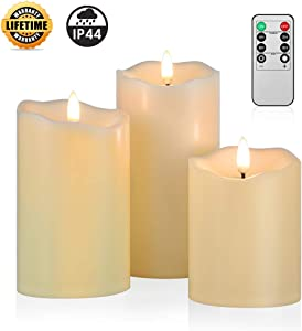 ANGELLOONG Upgraded Flickering Flameless Candles, Most Realistic Waterproof LED Candles with Remote and Timer, Set of 3 Battery Operated Pillar Candles for Kids Home Wedding Decoration