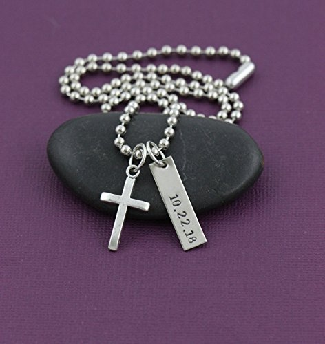 Men's Cross Necklace - DII - Boys Confirmation Gift - Baptism Gift - Handstamped Handmade - 1 x 1/4 Inch, 25.4 6MM Silver Bar - Customized Chain Length - Fast 1 Day Shipping