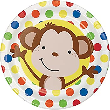 Creative Converting 413439 96 Count Dessert/Small Paper Plates Fun Monkey  sc 1 st  Amazon.com & Amazon.com: Boy Monkey Baby Shower Dinner Plates 8ct: Kitchen u0026 Dining