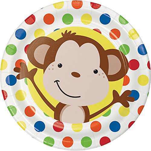 Creative Converting 413439 96 Count Dessert/Small Paper Plates, Fun Monkey