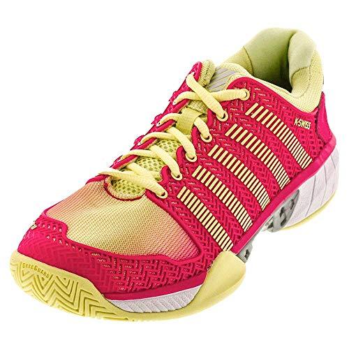 K-Swiss Women's Hypercourt Express Tennis Shoe (Pale Lime Yellow/Raspberry, 5 M US) - Sport Shoe Raspberry