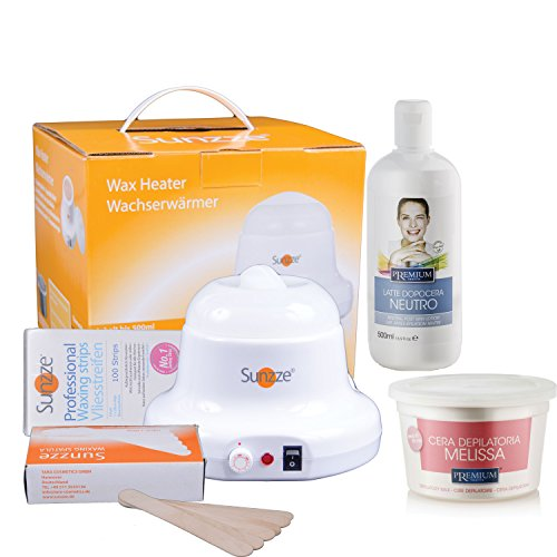 Wax-Set Sunzze Premium zur Enthaarung vom Intim, Achsel, Bein und Gesichtbereich. Mit Sunzze Wachserwärmer, Premium Warmwachs Melisse, Nachbehandlungsemulsiuon, Vliesstreifen und Spatel.