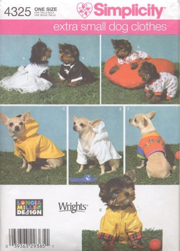 Amazon.com: Simplicity Sewing Pattern 4325 Extra Small Dog Clothes ...