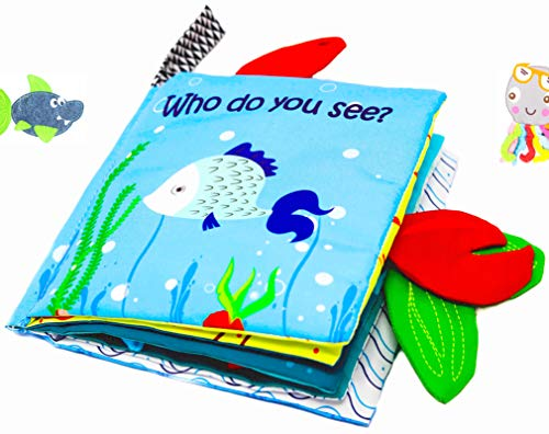 ('Who do You See?' Interactive and Soft Cloth Baby Book. Exciting & Vibrant Book with 3D Sea Animals, Crinkle Pages, Mesmerizing Mirror, for Babies and Toddlers by Babys First)