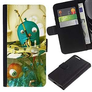 [Neutron-Star] Modelo colorido cuero de la carpeta del tirón del caso cubierta piel Holster Funda protecció Para Apple (5.5 inches!!!) iPhone 6+ Plus / 6S+ Plus [Blue Fish Bowl]