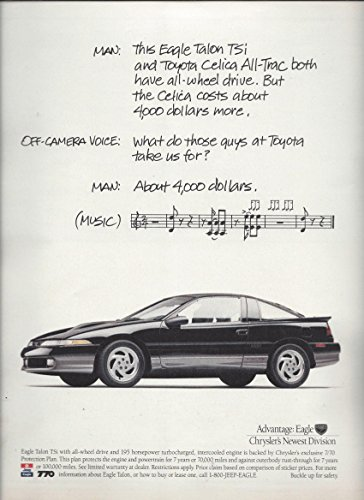 print-ad-for-1990-black-chrysler-eagle-talon-tsi-car-song-scene